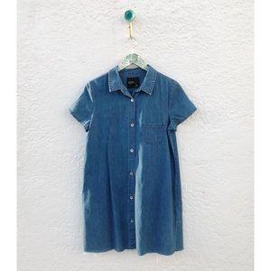 Zara Denim Fringe Bottom Dress